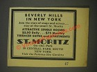 1936 St. Moritz On-the-Park Hotel Ad - Beverly Hills