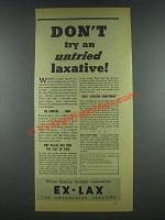 1935 Ex-Lax Laxative Ad - Don't Try Untried Laxative