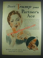 1933 Coca-Cola Soda Ad - Don't Trump Partner's Ace