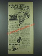 1933 Ingram Shaving Cream Ad - Damon Runyon