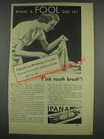 1933 Ipana Tooth Paste Ad - Takes Pains Washing Sweater