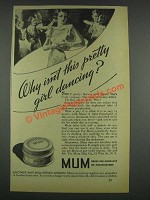 1933 Mum deodorant Ad - Why Isn't Pretty Girl Dancing