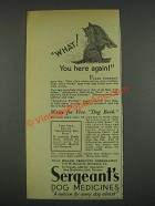 1933 Sergeant's Dog Medicines Ad - You Here Again!