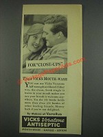 1933 Vicks Voratone Antiseptic Ad - For Close-Ups
