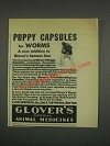 1933 Glover's Imperial Animal Medicines Ad - Puppy