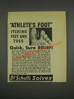 1933 Dr. Scholl's Solvex Ad - Athlete's Foot