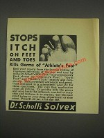 1933 Dr. Scholl's Solvex Ad - Stops Itch