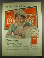 1932 Coca-Cola Soda Ad - Newsboy - At the Soda Fountain