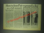 1932 Jad Salts Ad - How to Lose Fat A Pound a Day