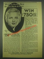 1932 E.A. Williams, Publicity Director Ad - Write Name