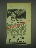1932 Allen's Foot-Ease Ad - First Aid To Beauty Charm