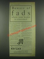 1931 Ex-Lax Laxative Ad - Beware of Fads