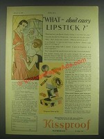 1930 Kissproof Makeup Kit Ad - Lipstick, Compact Rouge