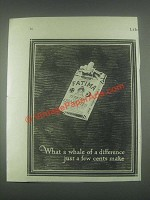 1925 Fatima Cigarettes Ad - What a Whale of Difference