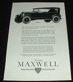 1923 Maxwell Touring Car Ad, No Car Faster or Farther!