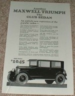 1923 Maxwell Club Sedan Car Ad - Another Triumph!!