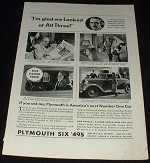 1933 Plymouth Six Car ad, w/ Edward Trumbull!