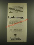 1985 Federal depository library program Ad - Look Us Up