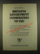 1985 Federal Depository Library Program Ad - To You