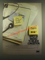 1985 3M Post-it Notes Ad - As Needed Relieve Congestion