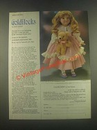 1985 Franklin Heirloom Dolls Ad - Goldilocks