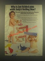 1985 Huggies Diapers Ad - Why is Jan Tickled Pink