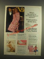 1985 Carefree Panty Shields Ad - Fresh-Dressed Woman