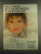 1985 Almay Hypo-Allergenic Moisturizer Ad - All I Want