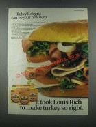 1985 Louis Rich Turkey Bologna Ad - Be Your New Hero