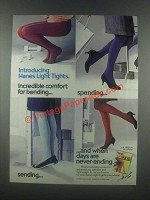 1985 Hanes Light Tights Ad - Comfort for Bending