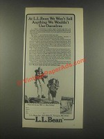 1985 L.L. Bean Ad - We Won't Sell Anything