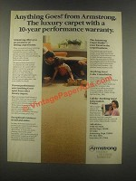 1985 Armstrong Anything Goes! Carpet Ad - 10-Year