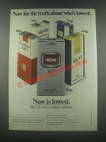 1985 Now Cigarettes Ad - The Truth About Lowest