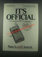 1985 Now Cigarettes Ad - It's Official
