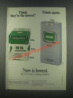 1985 Now Cigarettes Ad - Think They're The Lowest