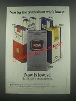 1985 Now Cigarettes Ad - Now For The Truth About