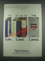 1985 Now Cigarettes Ad - Low Lower Lowest