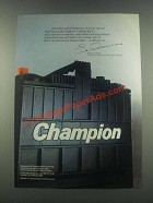 1985 Champion Battery Ad - I Believe This Is The Best