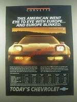 1985 Chevrolet Corvette Ad - Eye to Eye With Europe
