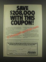 1985 Allstate Insurance Ad - Save $208,000 with This Coupon