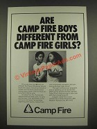 1985 Camp Fire Ad - Are Camp Fire Boys different from Camp Fire Girls?
