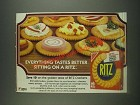 1985 Nabisco Ritz Crackers Ad - Everything tastes better sitting on a Ritz