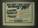 1985 U-Haul Center Ad - Rent a new luxury motorhome for $39.00 a day