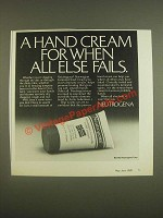 1985 Neutrogena Norwegian Formula Hand Cream Ad - When All Else Fails