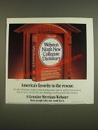 1985 Merriam-Webster Ninth New Collegiate Dictionary Ad - favorite to the rescue