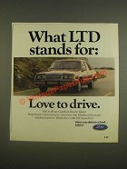 1985 Ford LTD Car Ad - What LTD stands for: Love to drive