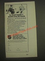 1985 The Salvation Army Ad - You Should Consider A Gift Annuity