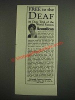 1925 Dictograph Acousticon Ad - Free to the Deaf