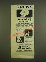 1924 Dr. Scholl's Zino-Pads Ad - Stop Hurting in One Minute