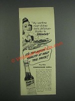 1943 French's Worcestershire Sauce Ad - My wartime meat dishes taste delicious